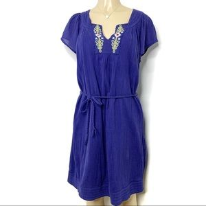 TOMMY HILFIGER Embroidered Split Neck Dress Blue M